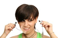 Free Girl With Mobile S Headphones Royalty Free Stock Photography - 3262697