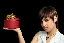 Free The Young Girl Holds A Box Royalty Free Stock Images - 3262779