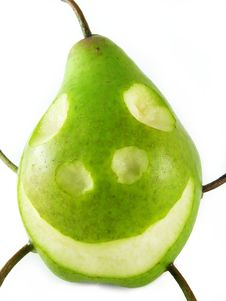 Free Cheerful Pear On White Royalty Free Stock Photo - 3262825