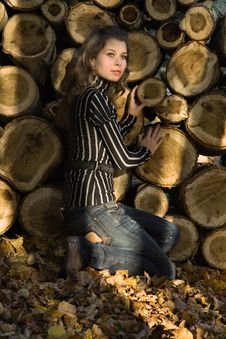 Free Girl Near A Woodpile Stock Image - 3265331