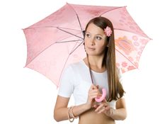 Free Young Girl With Umbrella. Royalty Free Stock Images - 3267319