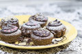 Free Diet Chocolate Cupcakes On Yellow Plate Royalty Free Stock Photos - 32605118