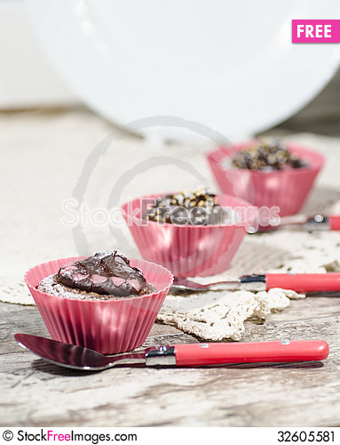 Free Diet Chocolate Cupcakes And Three Spoons. Vertical Format Stock Image - 32605581