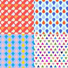 Free Set Of Four Seamless Patterns Royalty Free Stock Photography - 32602767
