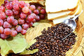 Free Grapes With Coffee Beans Stock Photo - 32634480