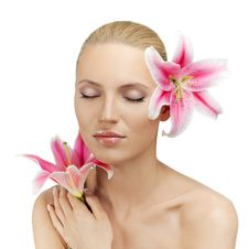 Free Beautiful Woman With A Flower Royalty Free Stock Photography - 32632117