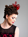Free Woman With Fashion Hairstyle With Red Feather In Hairs Royalty Free Stock Photo - 32641455