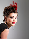 Free Woman With Fashion Hairstyle With Red Feather In Hairs Stock Photo - 32641470