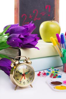 Clock, Flowers And Apple, Back To School Concept Royalty Free Stock Photos