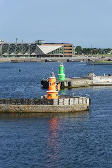 Helsingoer Harbour Entrance Royalty Free Stock Photography