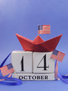 Free Happy Columbus Day, For The Second Monday In October, 14 October, Celebration Save The Date Calendar - Vertical. Stock Photography - 32688172