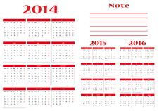 Free Calendar 2014-2015-2016 Royalty Free Stock Photography - 32682917