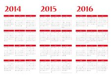Free Calendar 2014-2015-2016 Royalty Free Stock Photos - 32682928