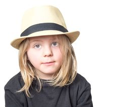 Free Cute Boy With Long Blond Hair Wearing A Tan Fedora Royalty Free Stock Image - 32689166