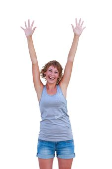 Free Girl With Hands Up Stock Photos - 32690423