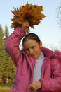 Free The Girl And Autumn Leafs Royalty Free Stock Photos - 3275328