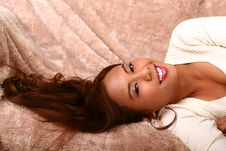 Free Happy Model Laughing On Bed Stock Photography - 3270022