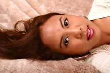 Free Happy Model Laying Sideway On Royalty Free Stock Photos - 3270058