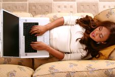 Free Model Working With Laptop In H Royalty Free Stock Photos - 3270088