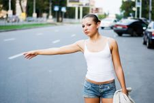 Free Woman On Road Stock Images - 3270354