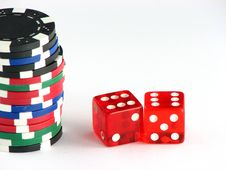 Free Dices And Chips Royalty Free Stock Images - 3271019