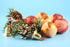 Christmas Cones And Balls Stock Photography