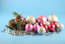 Christmas Cones And Balls Royalty Free Stock Photography