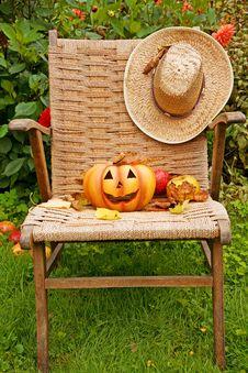 Free Halloween Pumpkin On The Chair Stock Photos - 3272053
