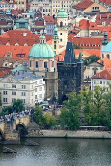 Free The Aerial View Of Prague City Stock Images - 3273114