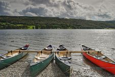 Free Canoes On Coniston Water Stock Photography - 3274342