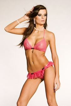 Woman In Pink Lingerie Stock Photography