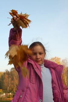 Free The Girl And Autumn Leafs Royalty Free Stock Photo - 3275345