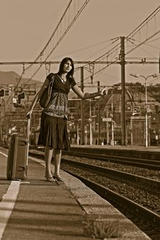 Free Woman Leaving On A Journey Royalty Free Stock Image - 3276026