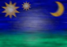 Blurred Stars And Moon Royalty Free Stock Images