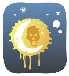 Free Moon And Skull Royalty Free Stock Images - 3278349