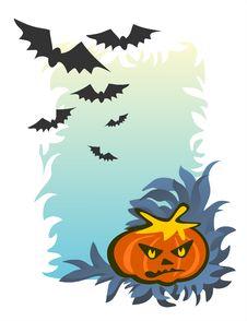 Pumpkin And Bats Stock Image