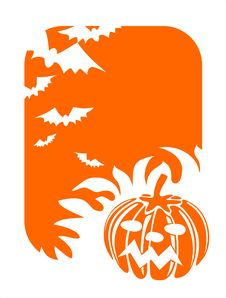 Orange Pumpkin And Bats Royalty Free Stock Photography