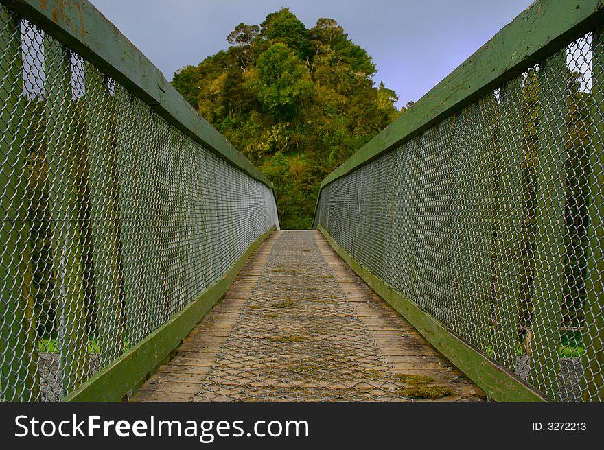Crossing a wire bridge