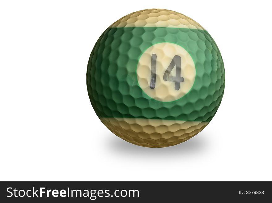 Pool ball with golf ball textu