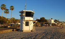 The Iconic Life Guard Tower And Historic Hotel Laguna &x28;background&x29; On The Main Beach Of Laguna Beach, California. Royalty Free Stock Photography