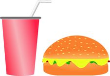 Burger And Soft Drink Royalty Free Stock Images