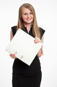 Free Happy Businesswoman With File Stock Photo - 32705290