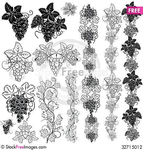 Free Grape. Pattern. Set2. Stock Photography - 32715012