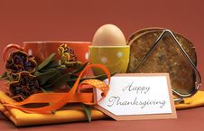 Free Happy Thanksgiving Breakfast With Egg Horizontal. Royalty Free Stock Photo - 32710505