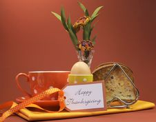 Happy Thanksgiving Breakfast For Your Special One With Toast And Egg Royalty Free Stock Photo