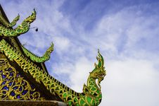 Traditional Northern Thai Temple Roof Royalty Free Stock Photo