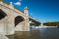 Free Pedestrian Andreevsky Bridge In Moscow Stock Photos - 32720923