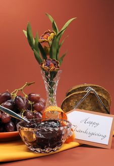 Happy Thanksgiving Day Breakfast Or Morning Brunch With Toast, Jelly And Grapes - Vertical.