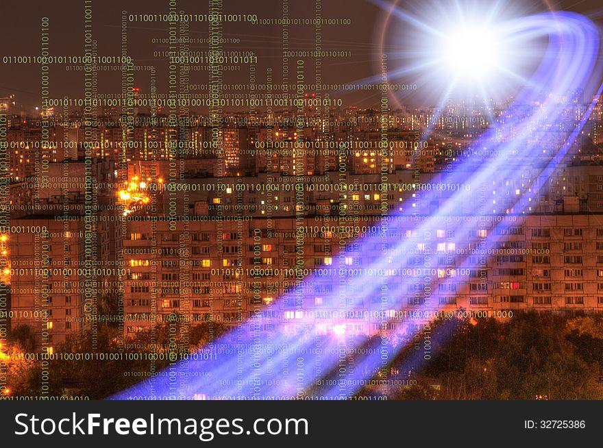 Urban futuristic landscape of night city.