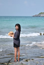 Free Beautiful Asian Girl Smiling At The Beach Royalty Free Stock Image - 32731376